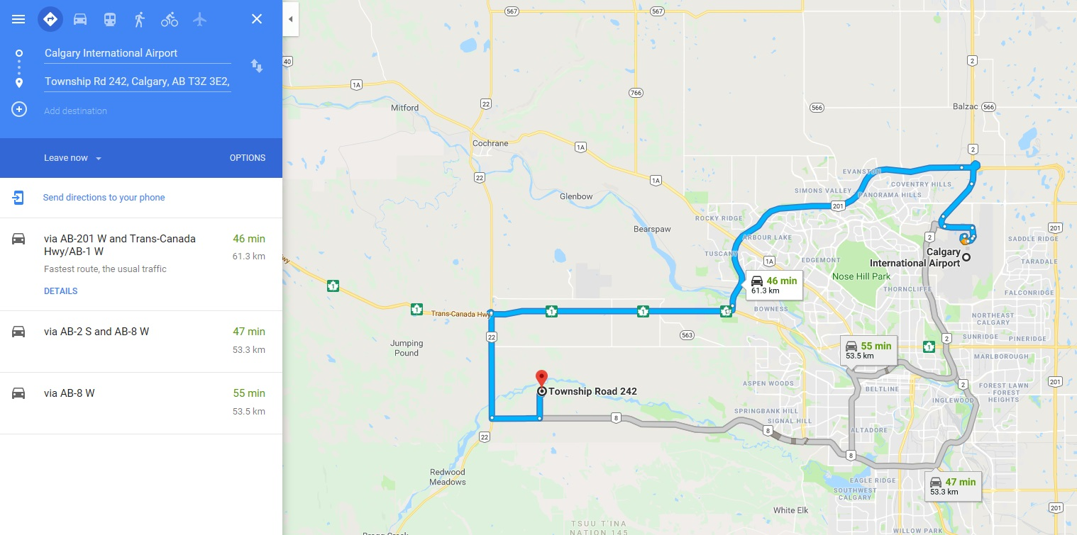Directions to Entheos from Calgary Airport